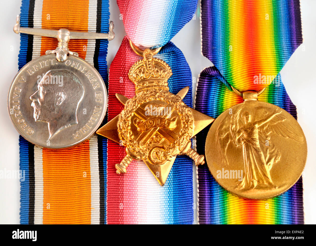 """First World War medals: """"Pip, Squeak and Wilfred""""  British War Medal; 1914 Star; Victory Medal (left to right) Stock Photo"""