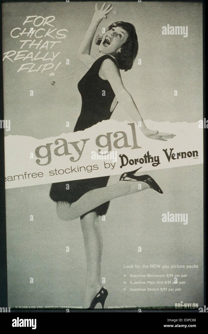 1960s UK Gay Gal Stockings Magazine Advert - Stock Image