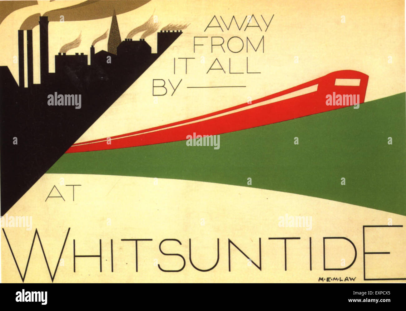1930s UK Whitsuntide Poster - Stock Image