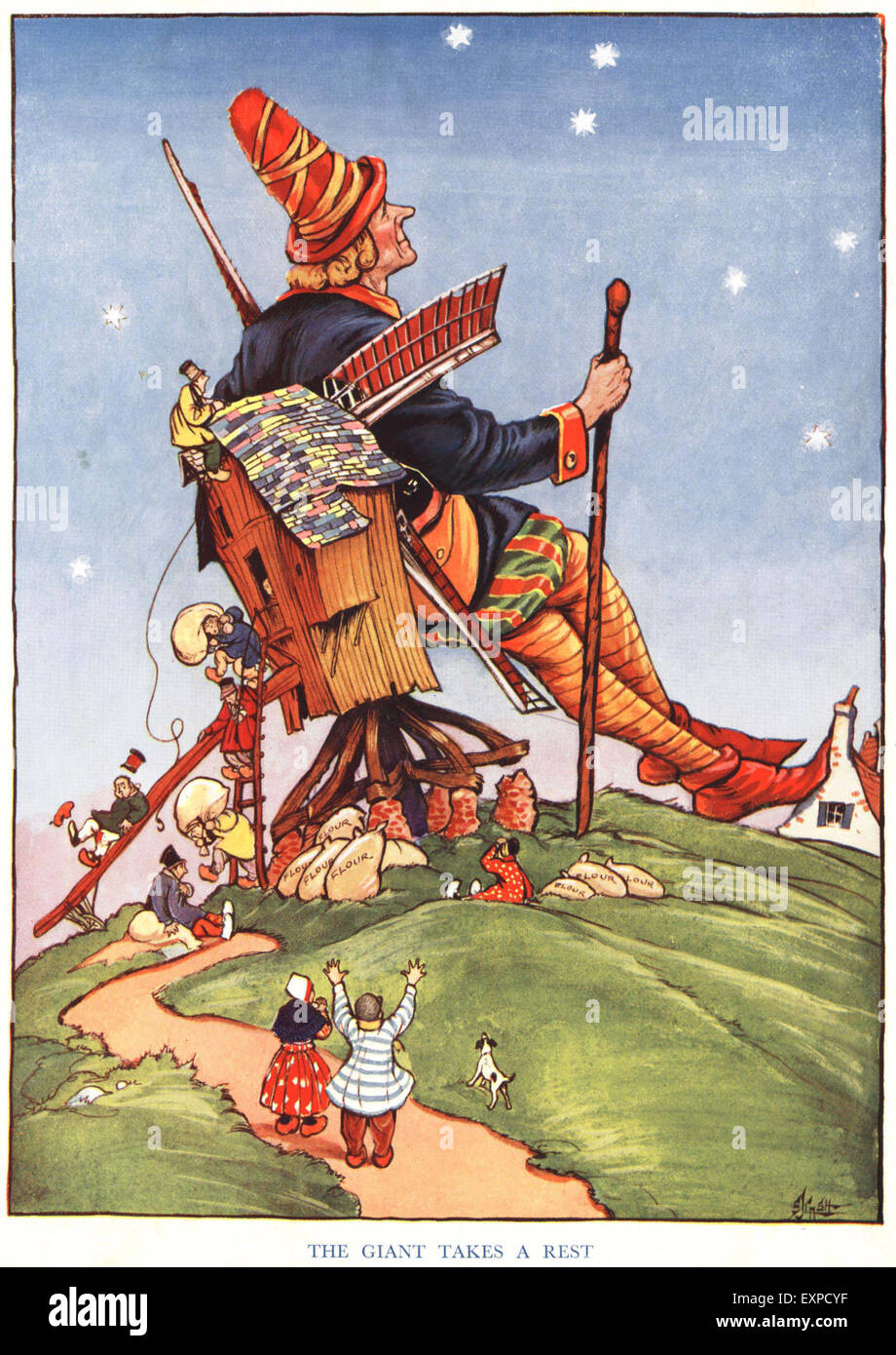 1920s UK Jack and The Beanstalk Book Plate - Stock Image