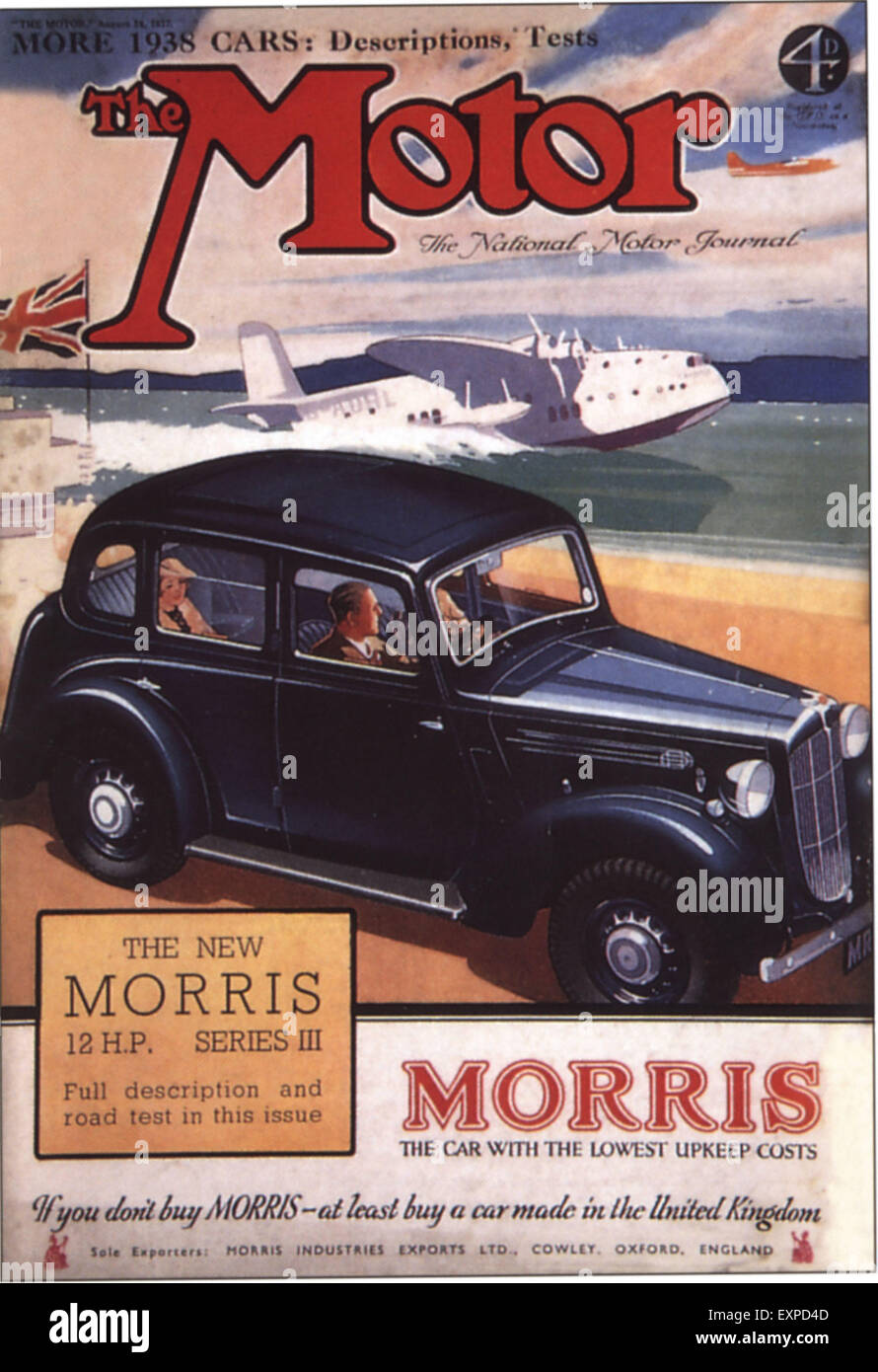 1930s UK The Motor Magazine Cover - Stock Image