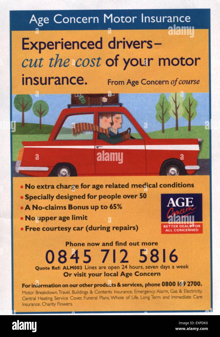 2000s UK Age Concern Magazine Advert - Stock Image