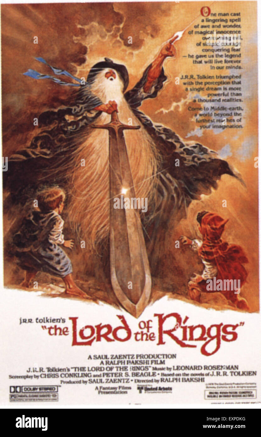 1970s USA Lord of the Rings Film Poster - Stock Image