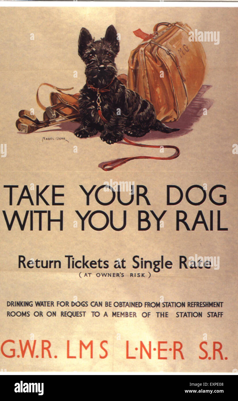 1930s UK Take Your Dog Poster - Stock Image