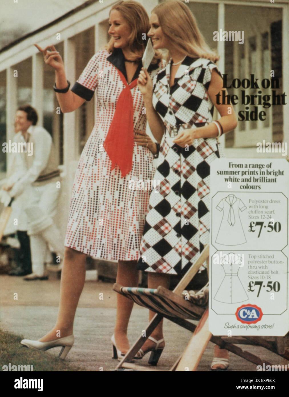 1970s UK C&A Magazine Advert - Stock Image