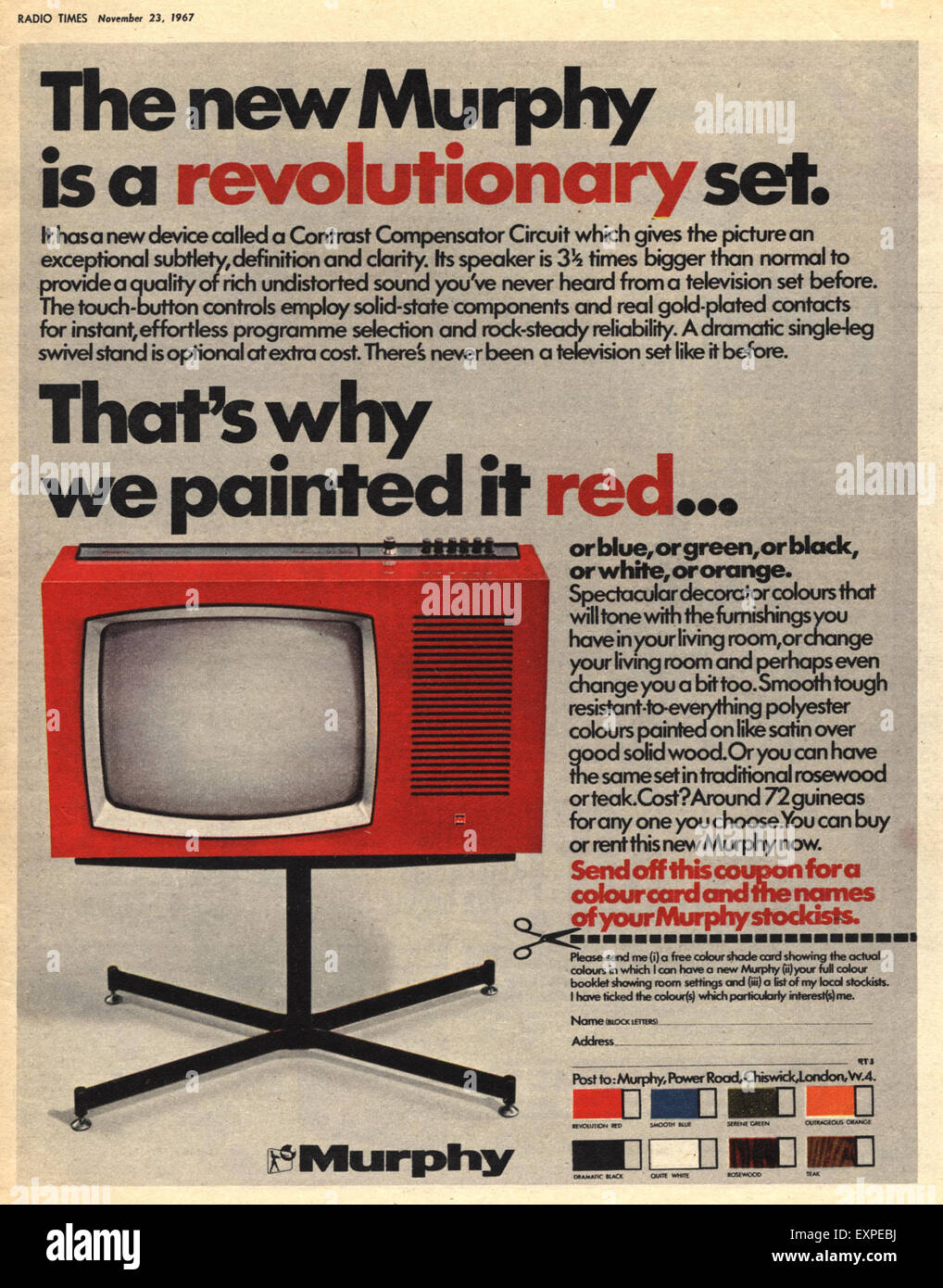 1960s UK Murphy Magazine Advert - Stock Image