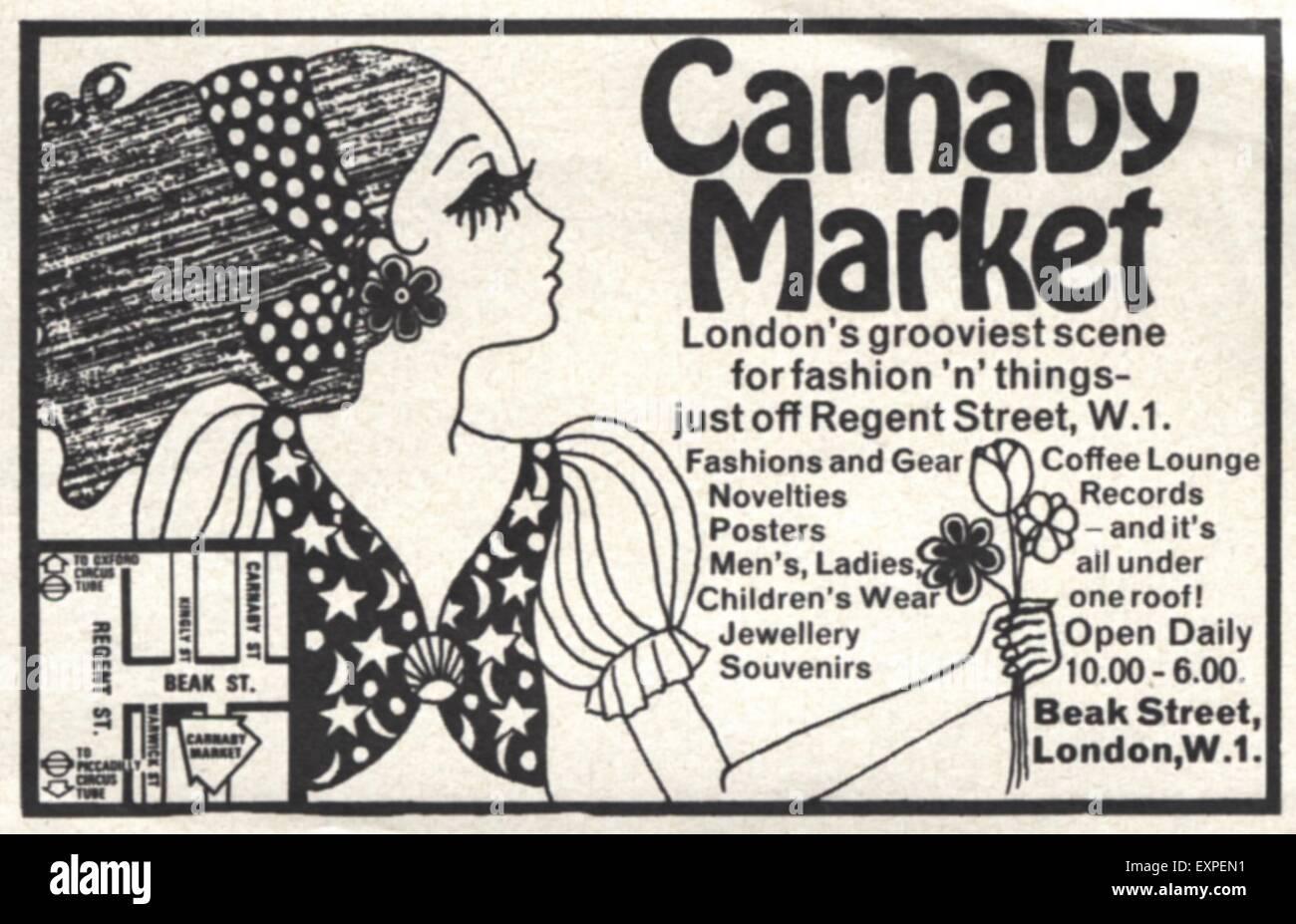 1960s UK Carnaby Market Magazine Advert - Stock Image