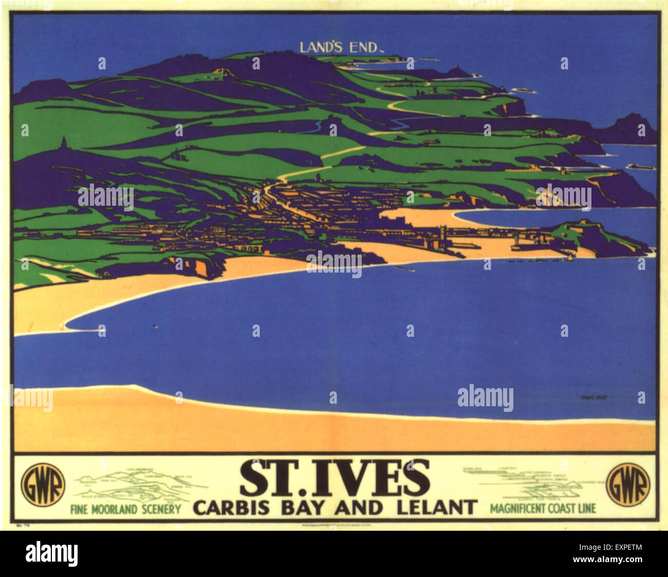 1930s UK Cornwall St Ives Poster - Stock Image