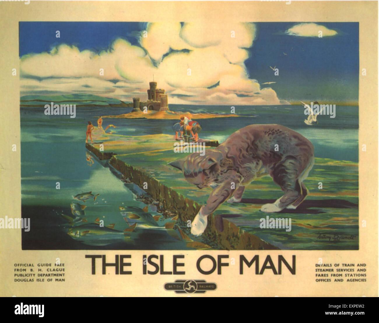 1930s UK Isle Of Man Holidays Railways Trains Poster - Stock Image