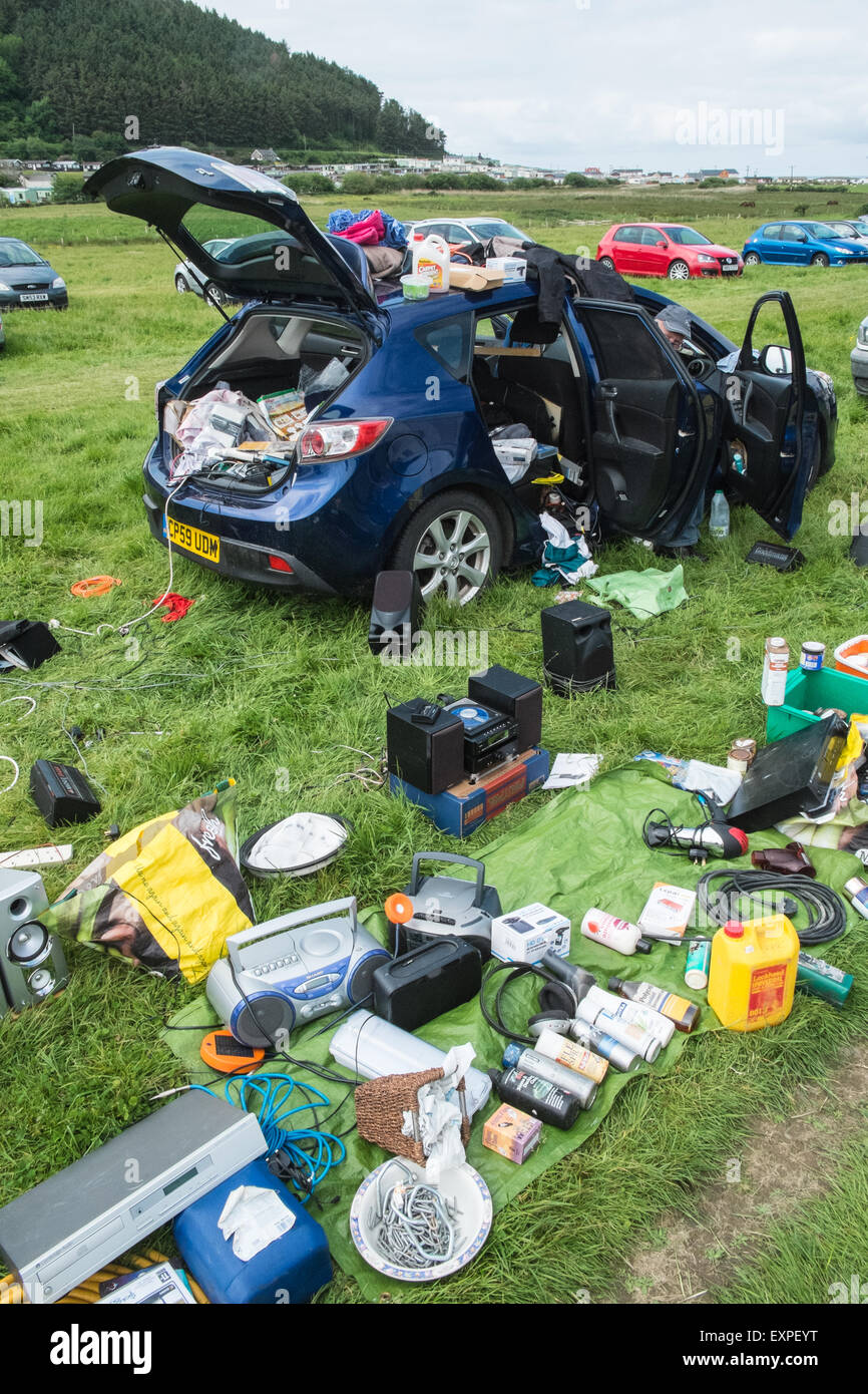 Clarach,car,boot,sale,Sunday,Ceredigion,flea,sell,Mid,Wales,U.K. - Stock Image
