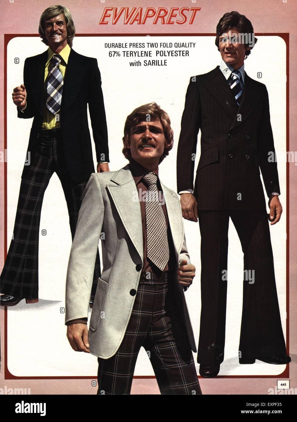 37ba97f806 1970s UK Mens Fashion 1970s Catalogue/ Brochure Plate Stock Photo ...