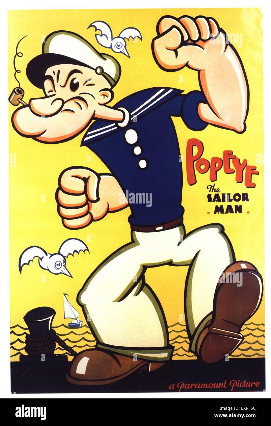 1930s UK Popeye The Sailor Man Film Poster - Stock Image