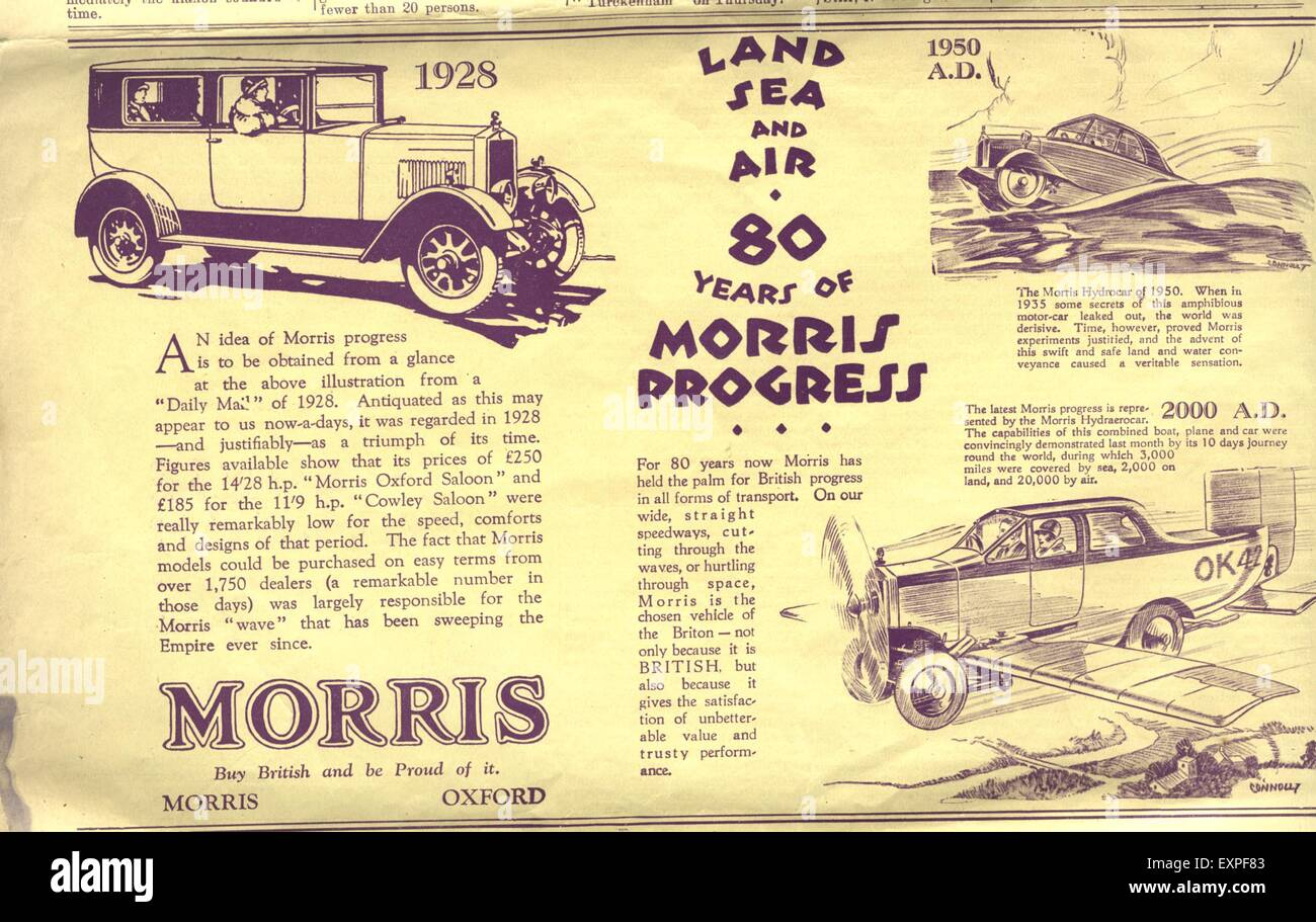 1920s UK 80 Years of Morris Progress Magazine Advert - Stock Image