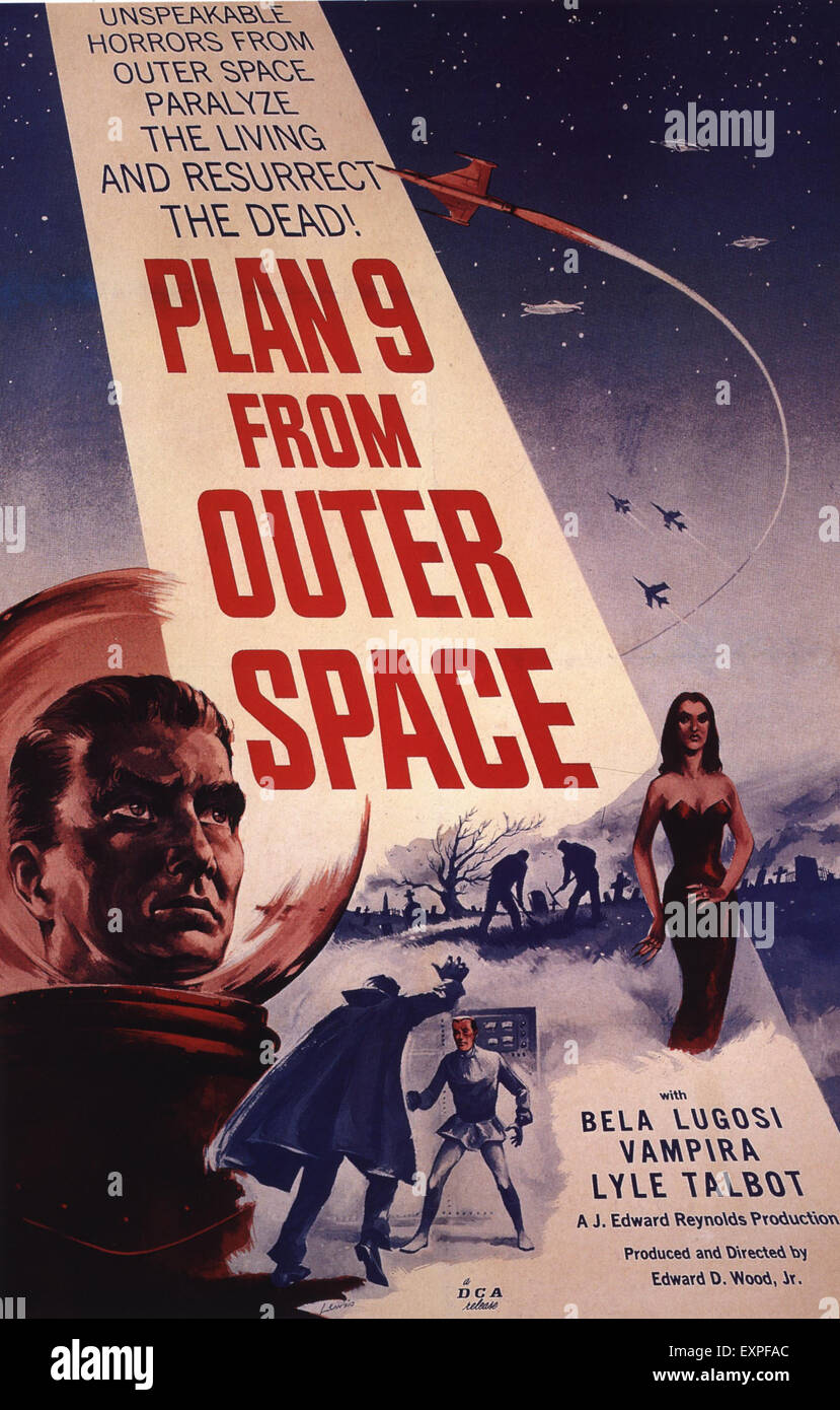 1950s USA Plan 9 From Outer Space Film Poster - Stock Image
