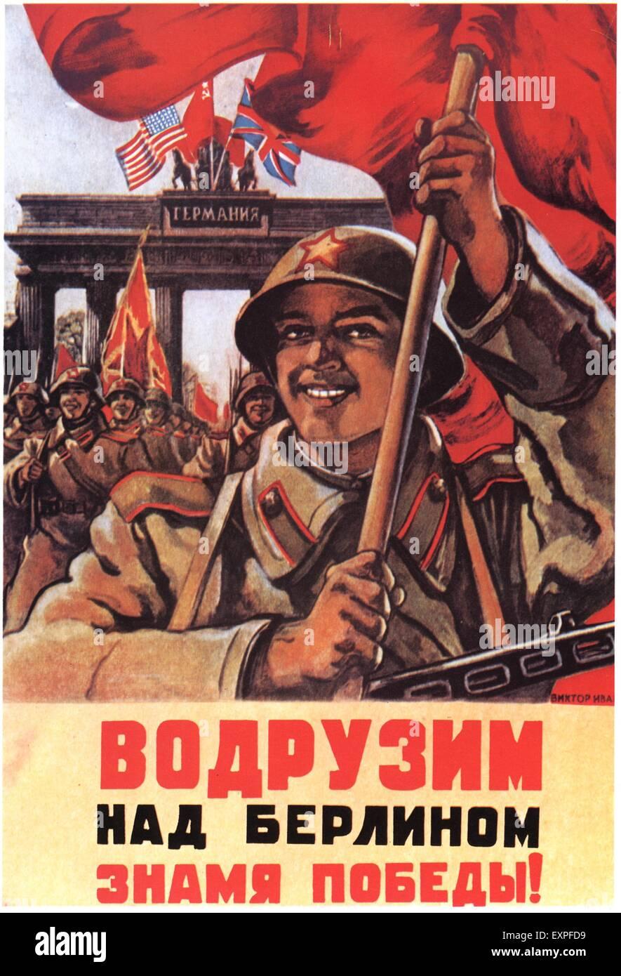 1940s Russia Soviet Union Propaganda Poster Stock Photo ...