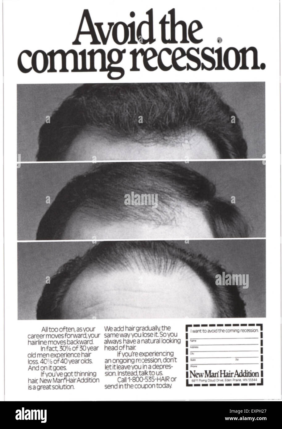 1970s UK New Man Hair Addition Magazine Advert - Stock Image