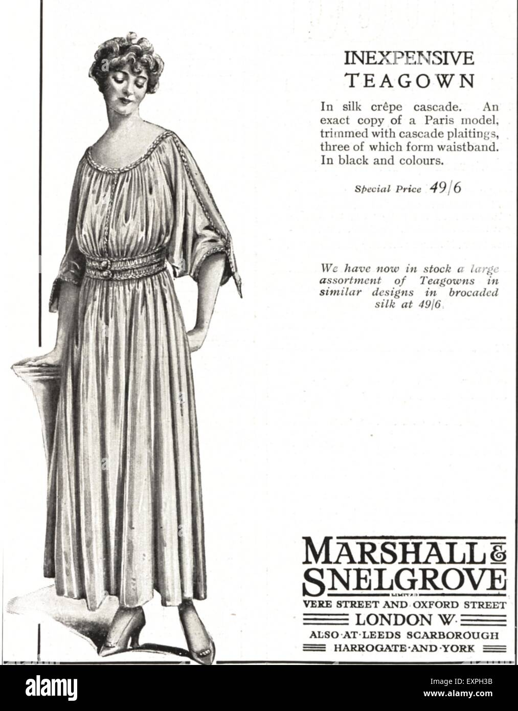 1910s UK Marshall and Snelgrove Magazine Advert - Stock Image