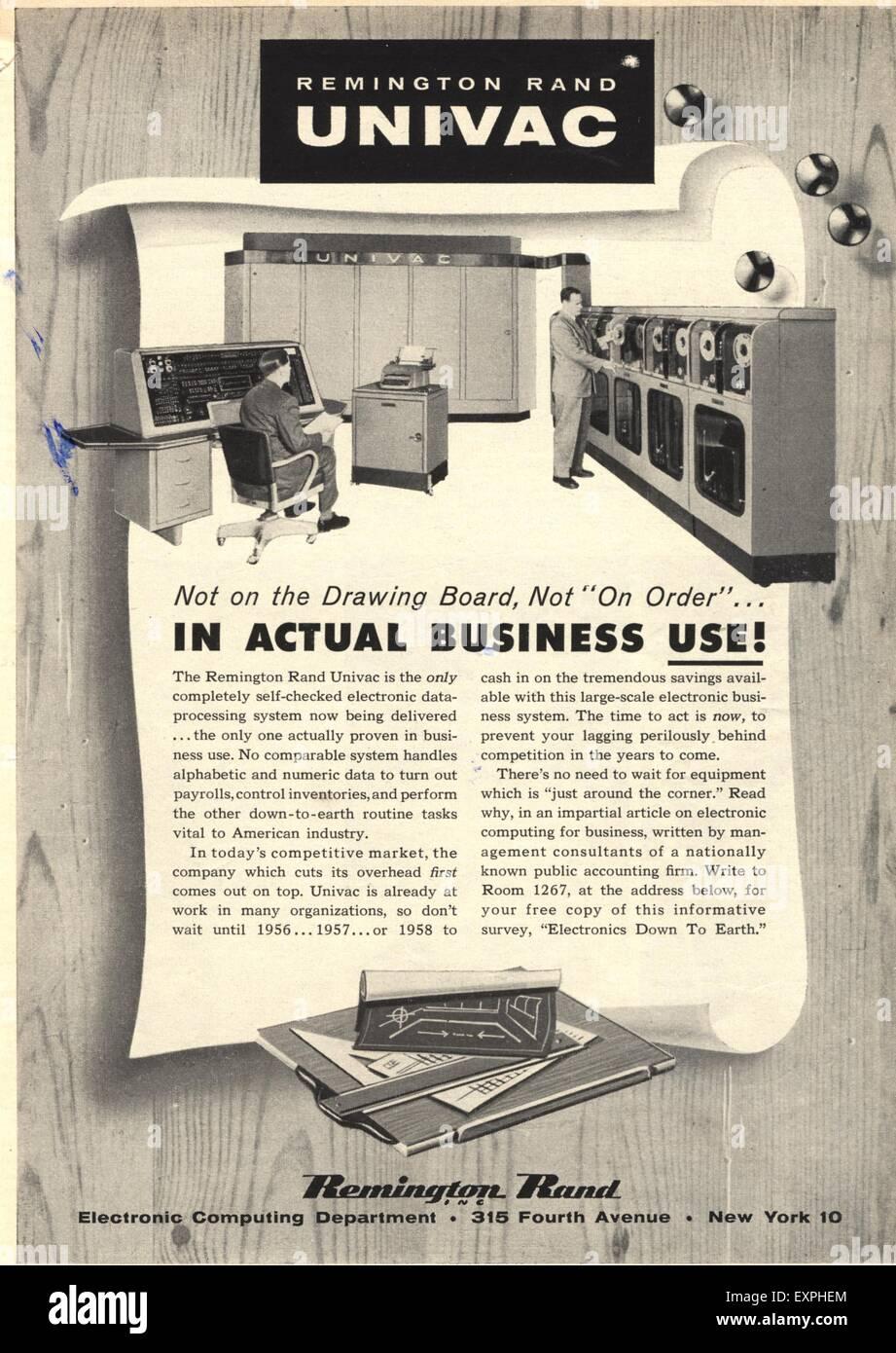 1950s USA Remington Magazine Advert Stock Photo: 85319212 - Alamy