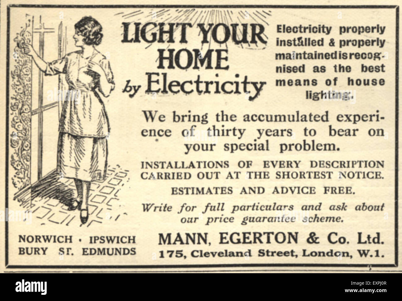 1920s UK Mann Egerton Electricity Magazine Advert - Stock Image