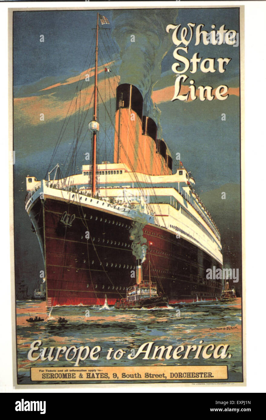 1920s UK White Star Line Poster - Stock Image