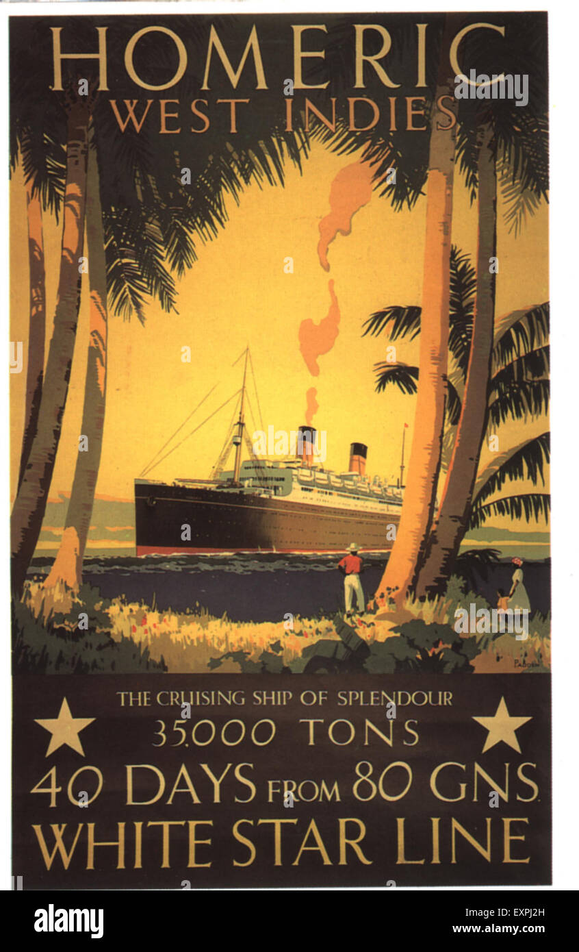 1930s UK White Star Line Poster - Stock Image