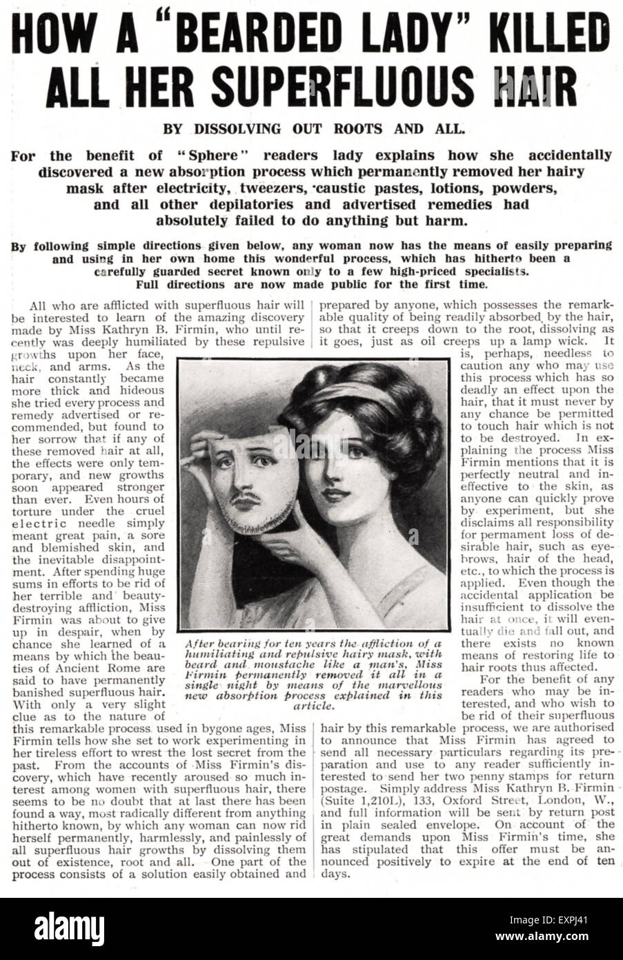 1910s UK Bearded Lady Magazine Advert - Stock Image