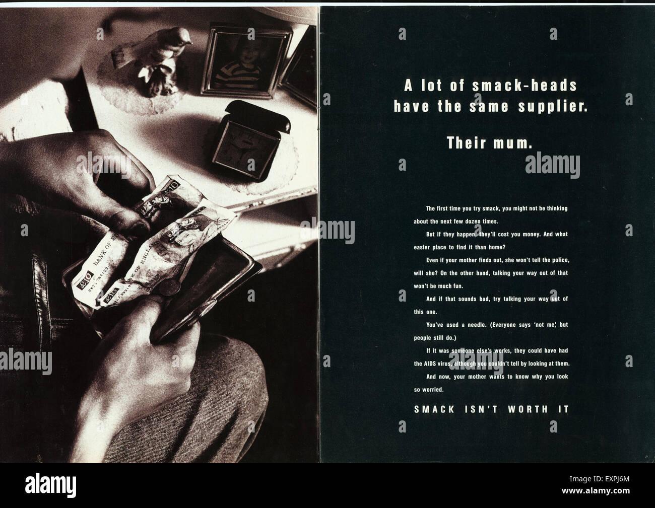 1990s UK Smack Isn't Worth It Magazine Advert - Stock Image