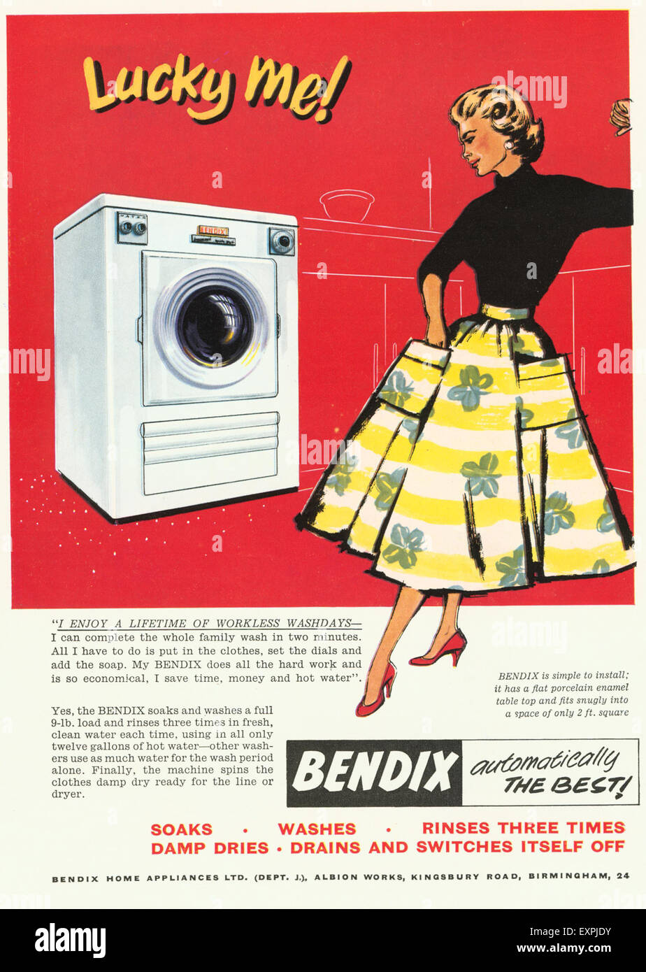 1950s UK Bendix Washing Machines Magazine Advert