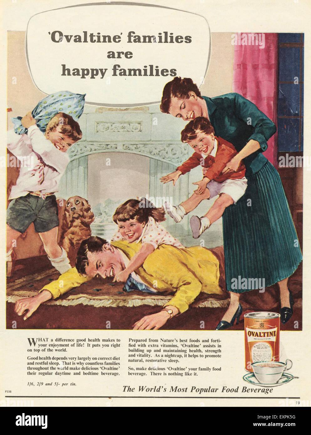 1950s Uk Ovaltine Magazine Advert Stock Photo 85320524 Alamy
