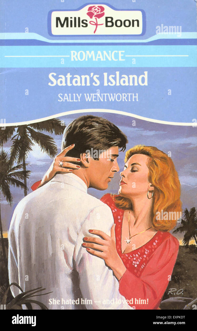 1990s UK Satan's Island by Sally Wentworth Book Cover - Stock Image