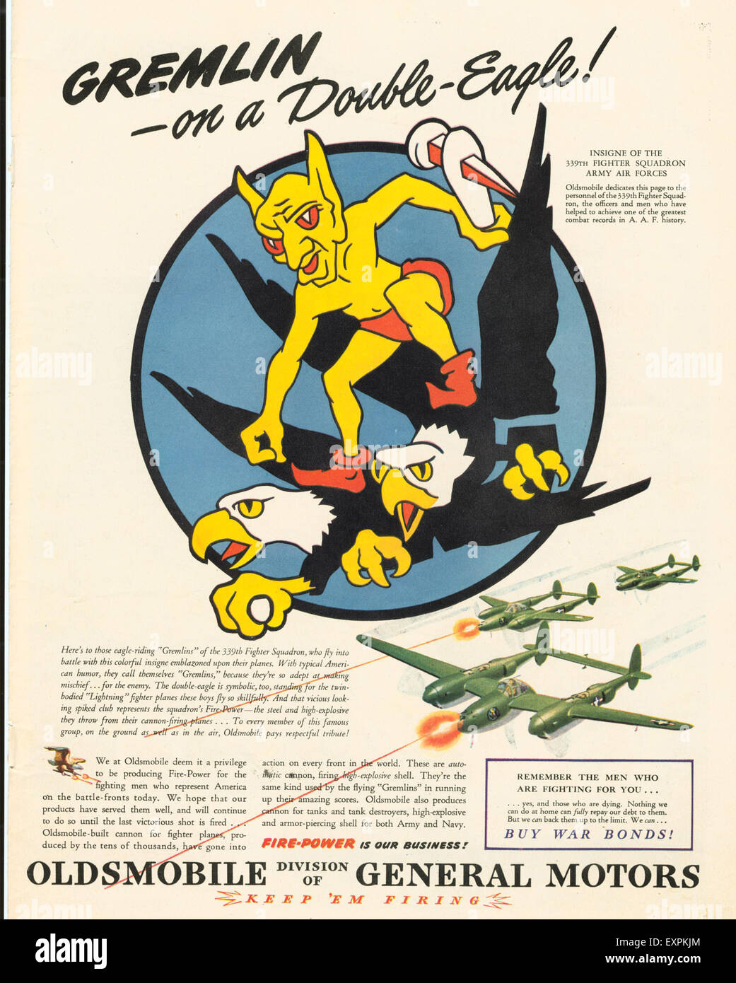 1940s USA War Planes Magazine Advert - Stock Image
