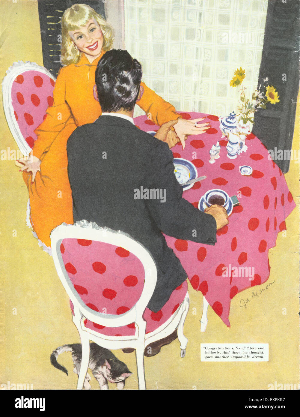 1950s USA Story Illustration Magazine Plate - Stock Image