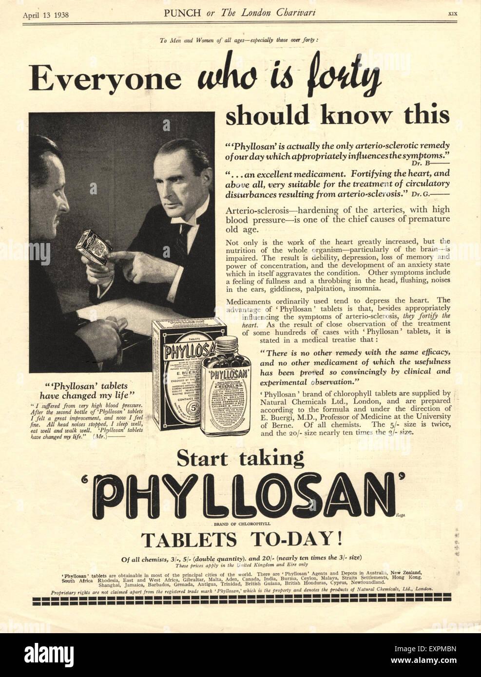 1930s UK Phyllosan Magazine Advert - Stock Image