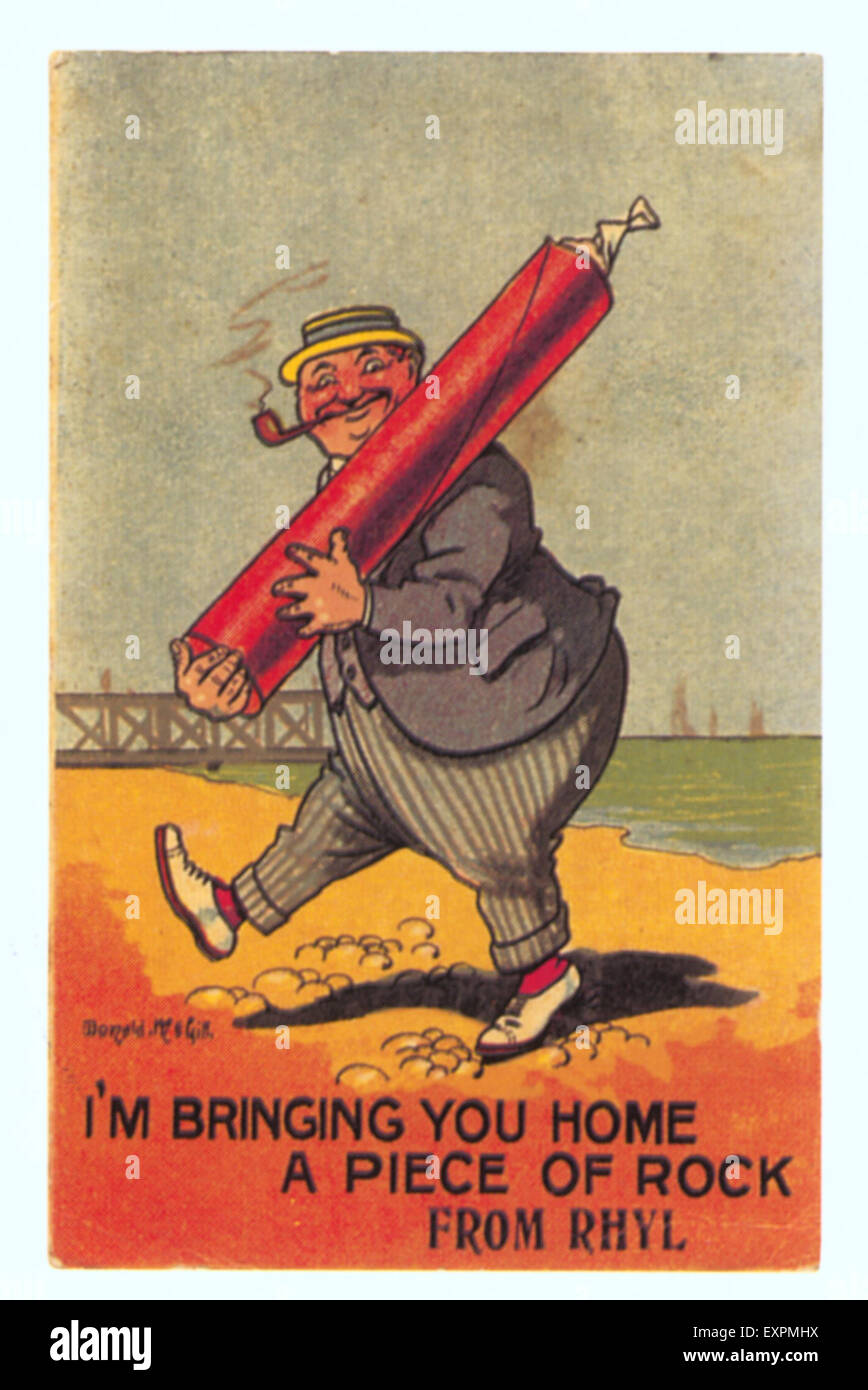 1910s UK Seaside Postcard - Stock Image