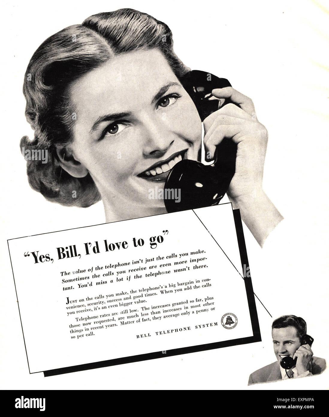 1930s USA Bell Magazine Advert - Stock Image