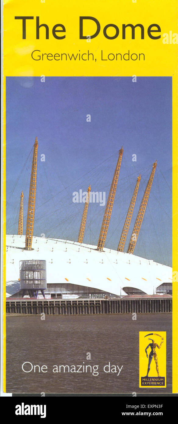 1990s UK The London Dome Leaflet/  Flyer - Stock Image