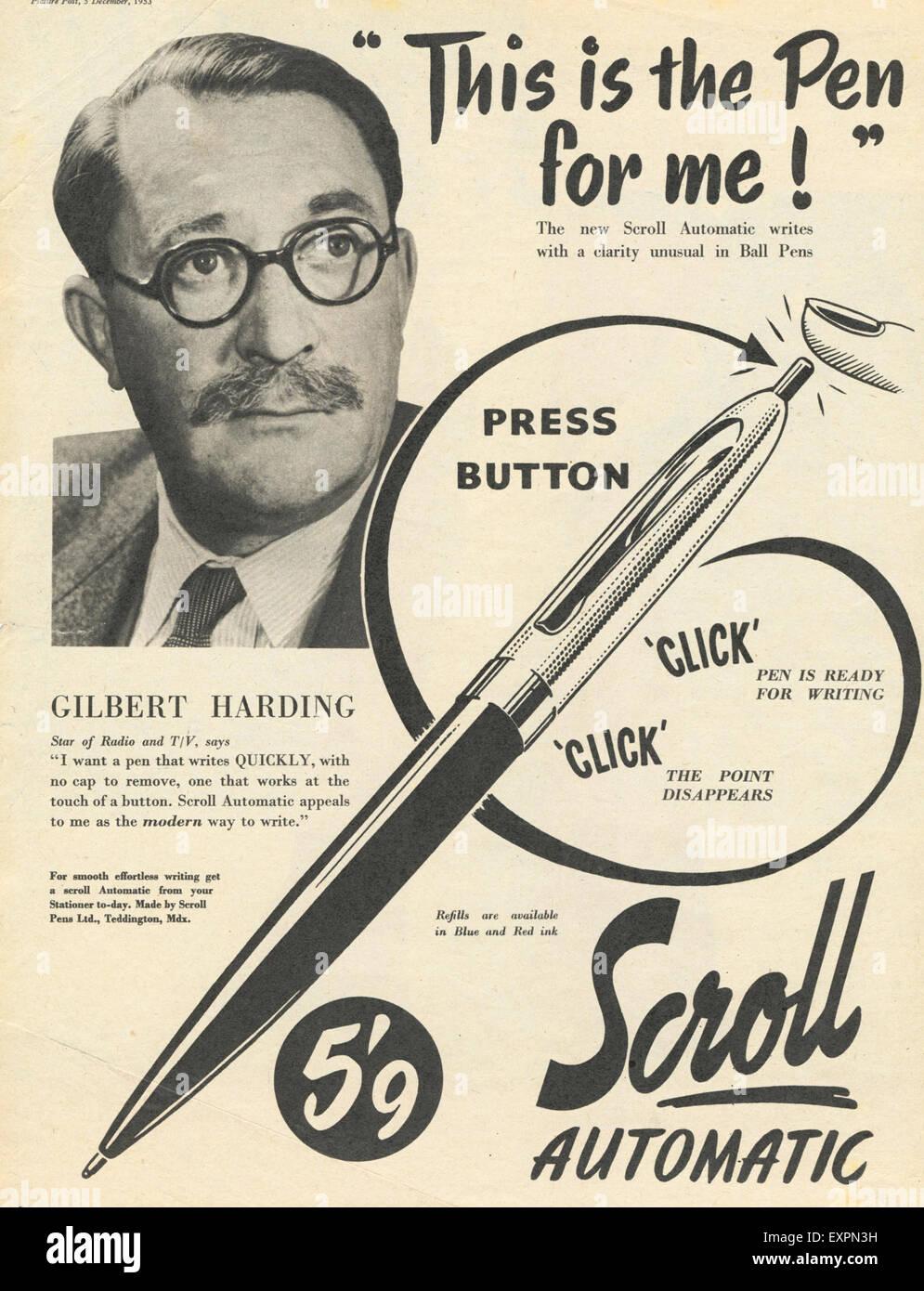 1950s UK Scroll Pen Magazine Advert - Stock Image