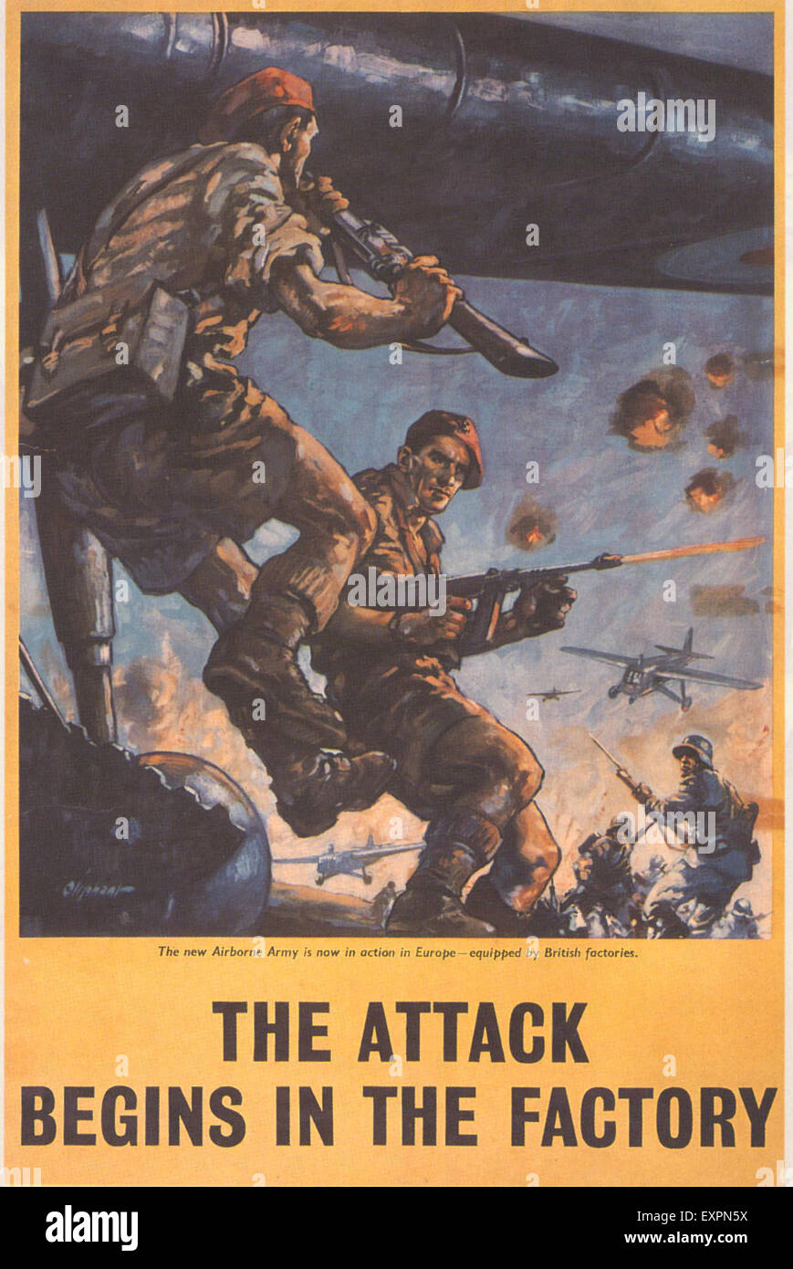 1940s UK WW2 Propaganda Poster - Stock Image