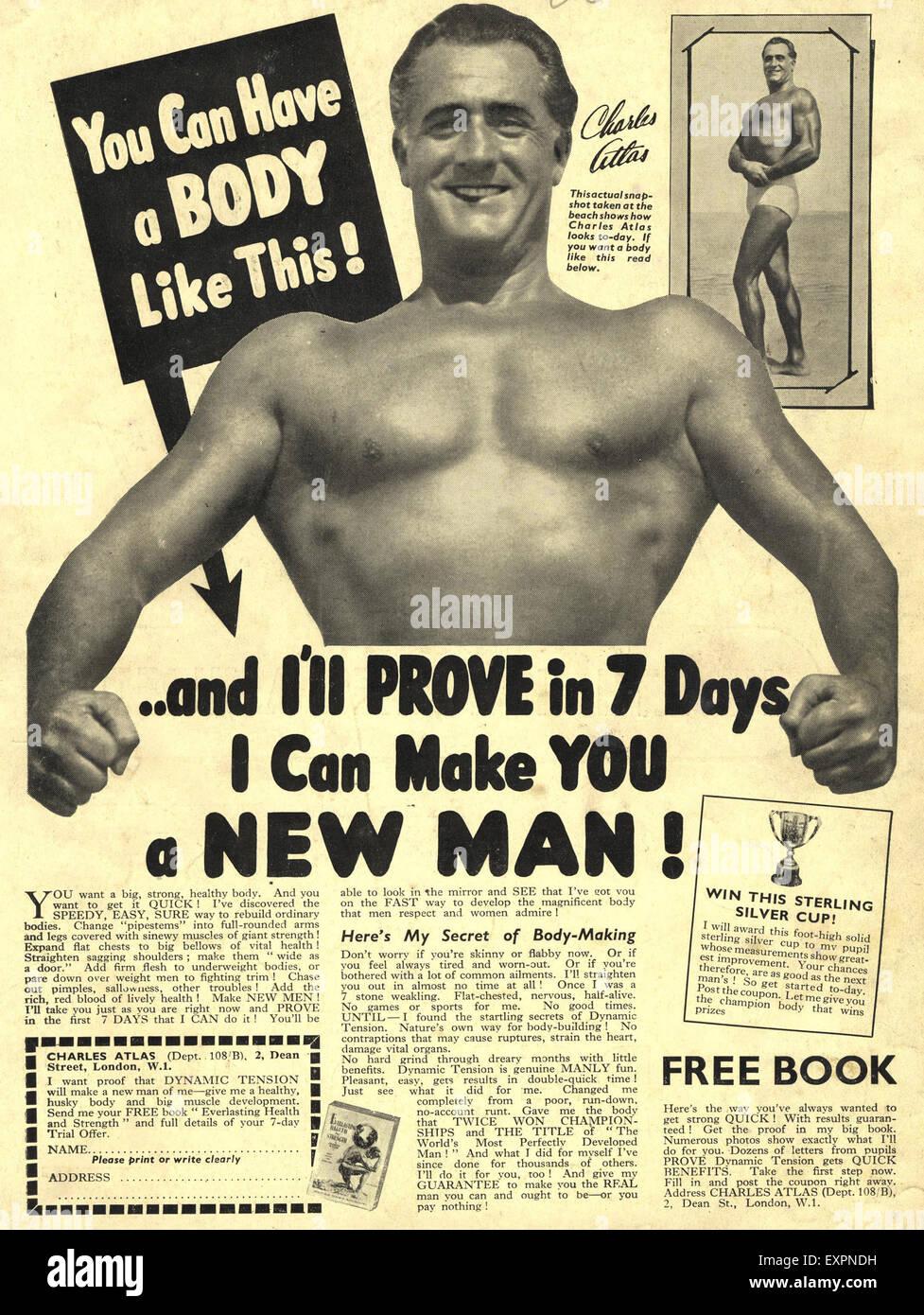 1950s UK Charles Atlas Magazine Advert Stock Photo