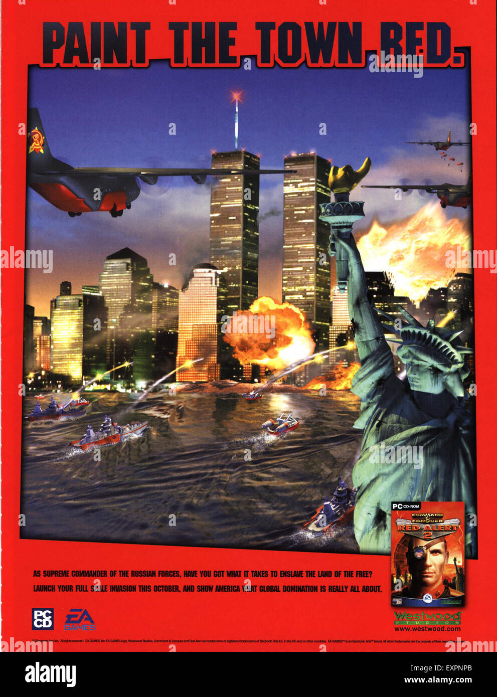 2000s UK Twin Towers Red Alert Pre 9/11 Magazine Advert - Stock Image