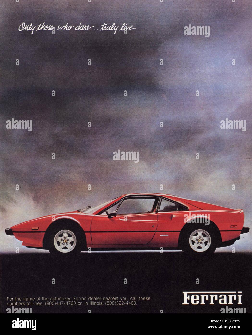 1980s Uk Ferrari Magazine Advert Stock Photo Alamy