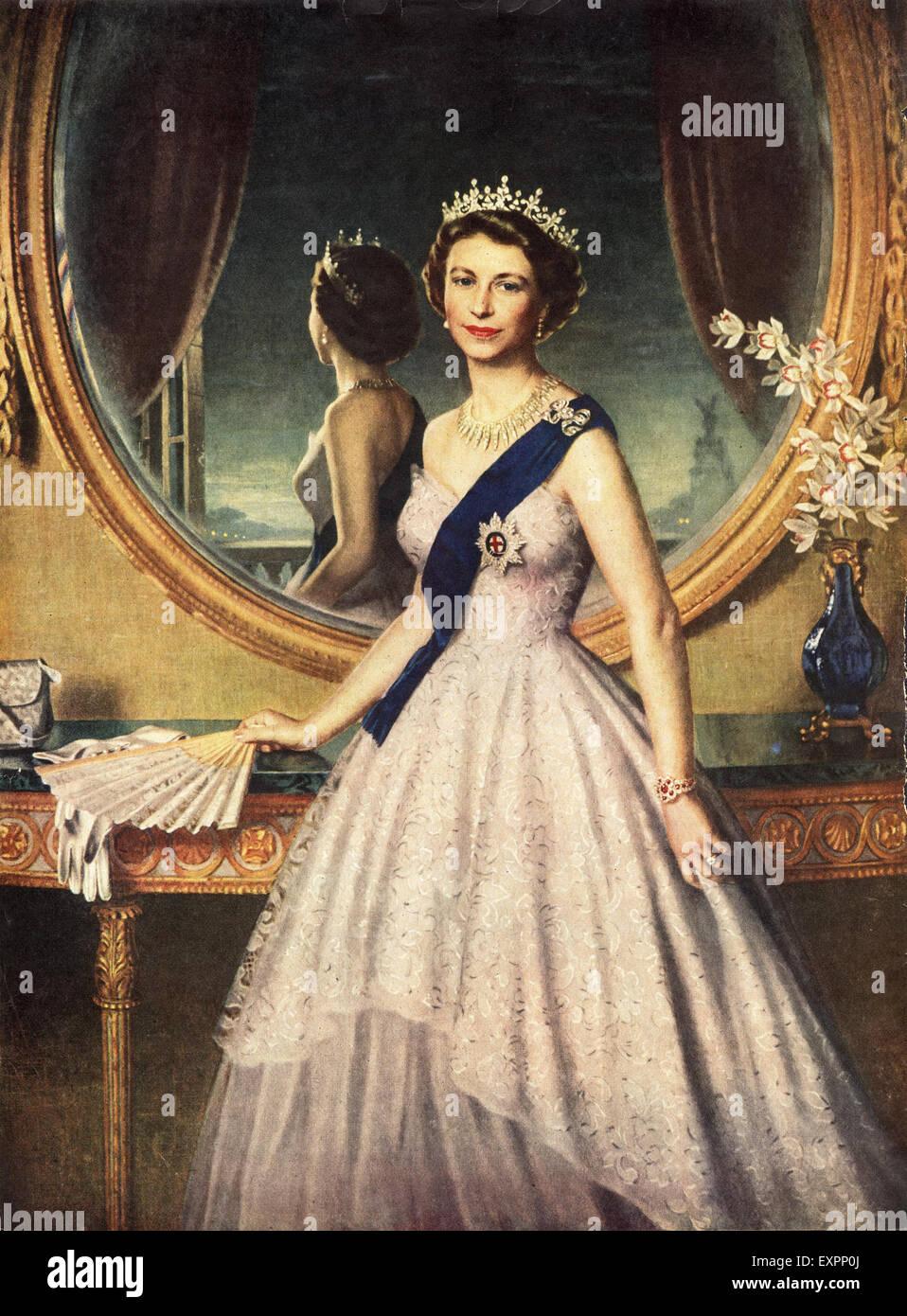 1950s UK Royalty Queen Elizabeth Magazine Cover Stock Photo