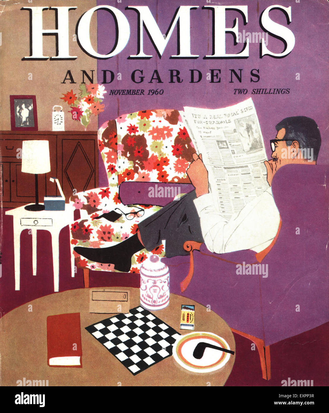 1960s UK Homes and Gardens Magazine Cover - Stock Image