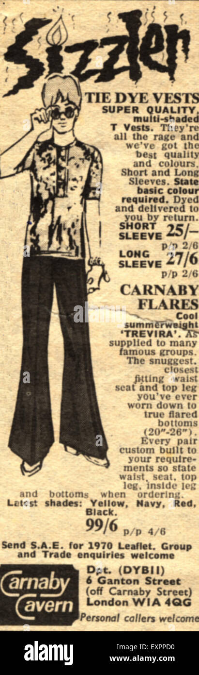 1960s UK Carnaby Cavern Magazine Advert - Stock Image