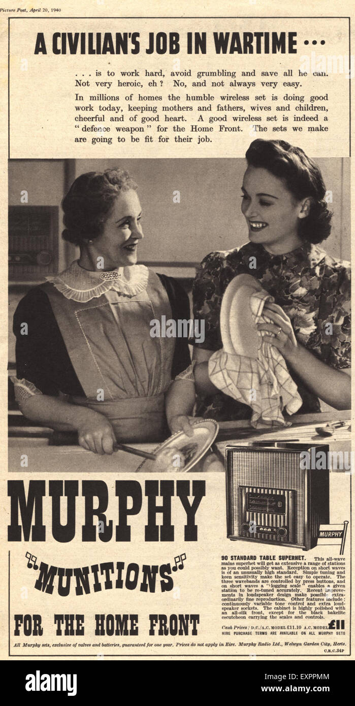1940s UK Murphy Magazine Advert - Stock Image