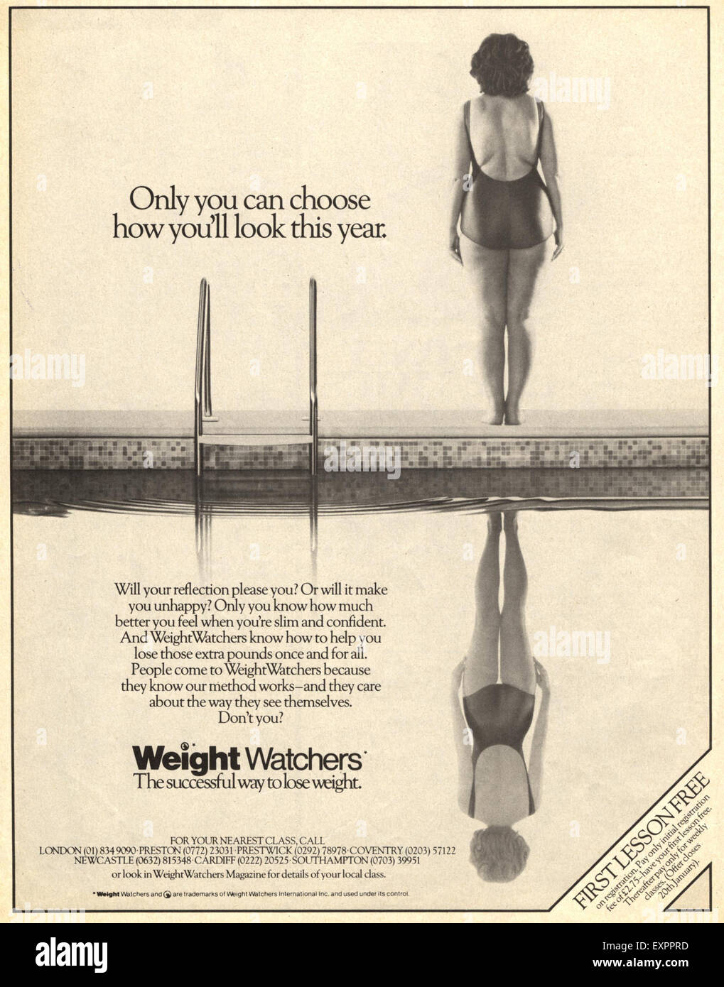 1980s UK Weight Watchers Magazine Advert - Stock Image
