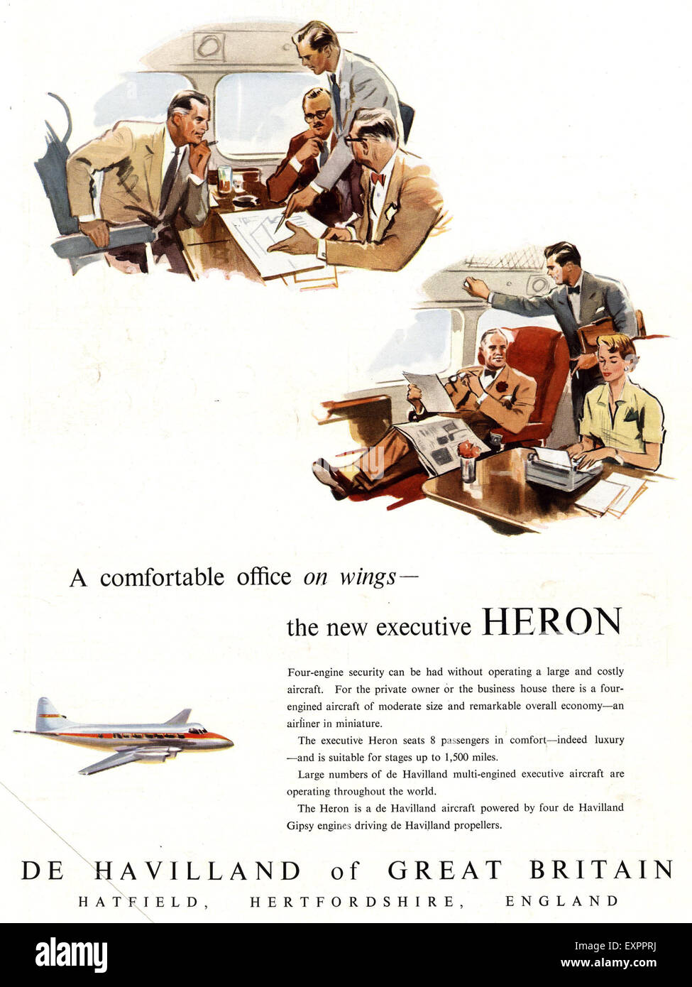1950s UK Heron De Havilland Magazine Advert - Stock Image