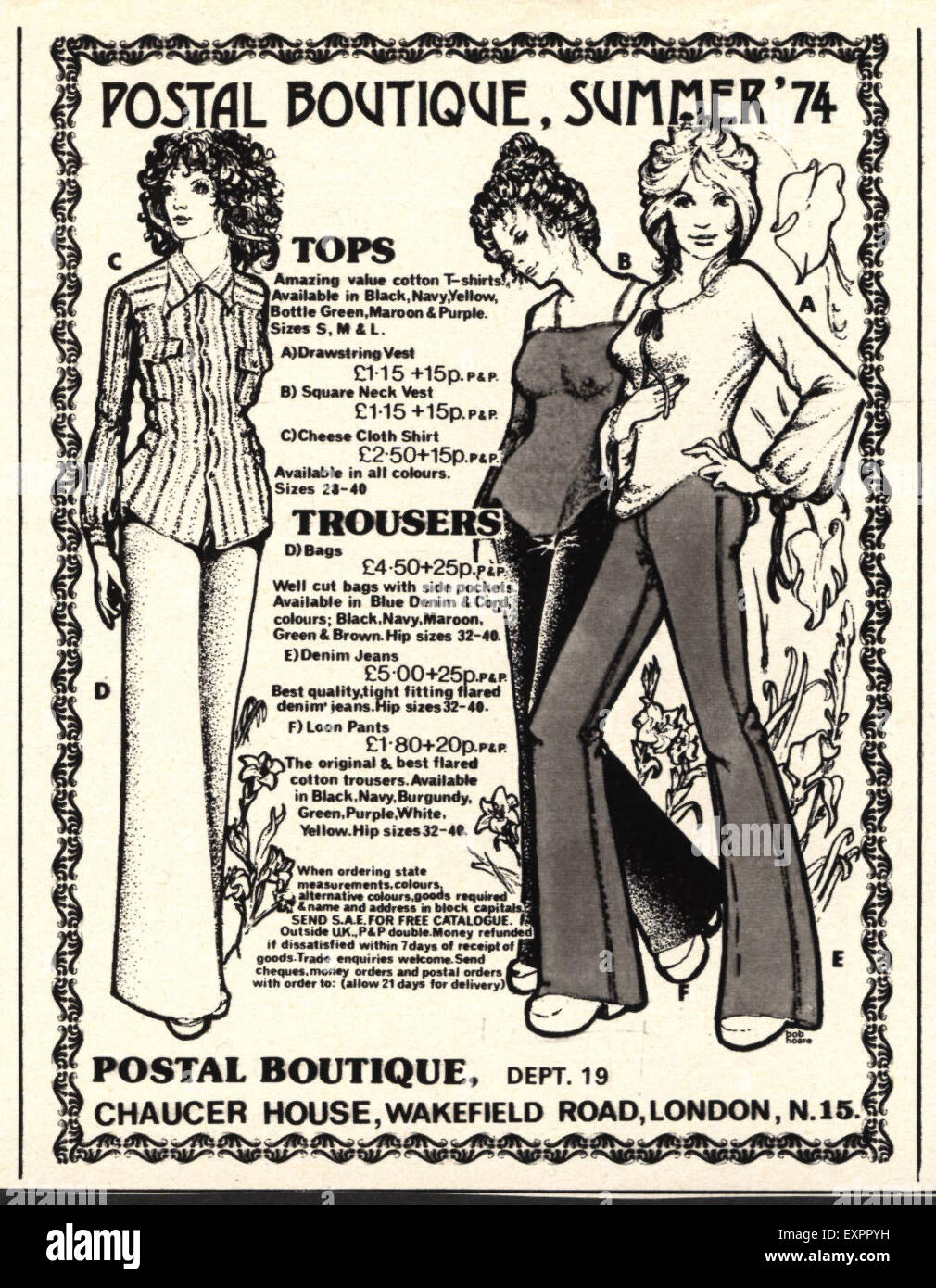 1970s UK Postal Boutique Magazine Advert Stock Photo