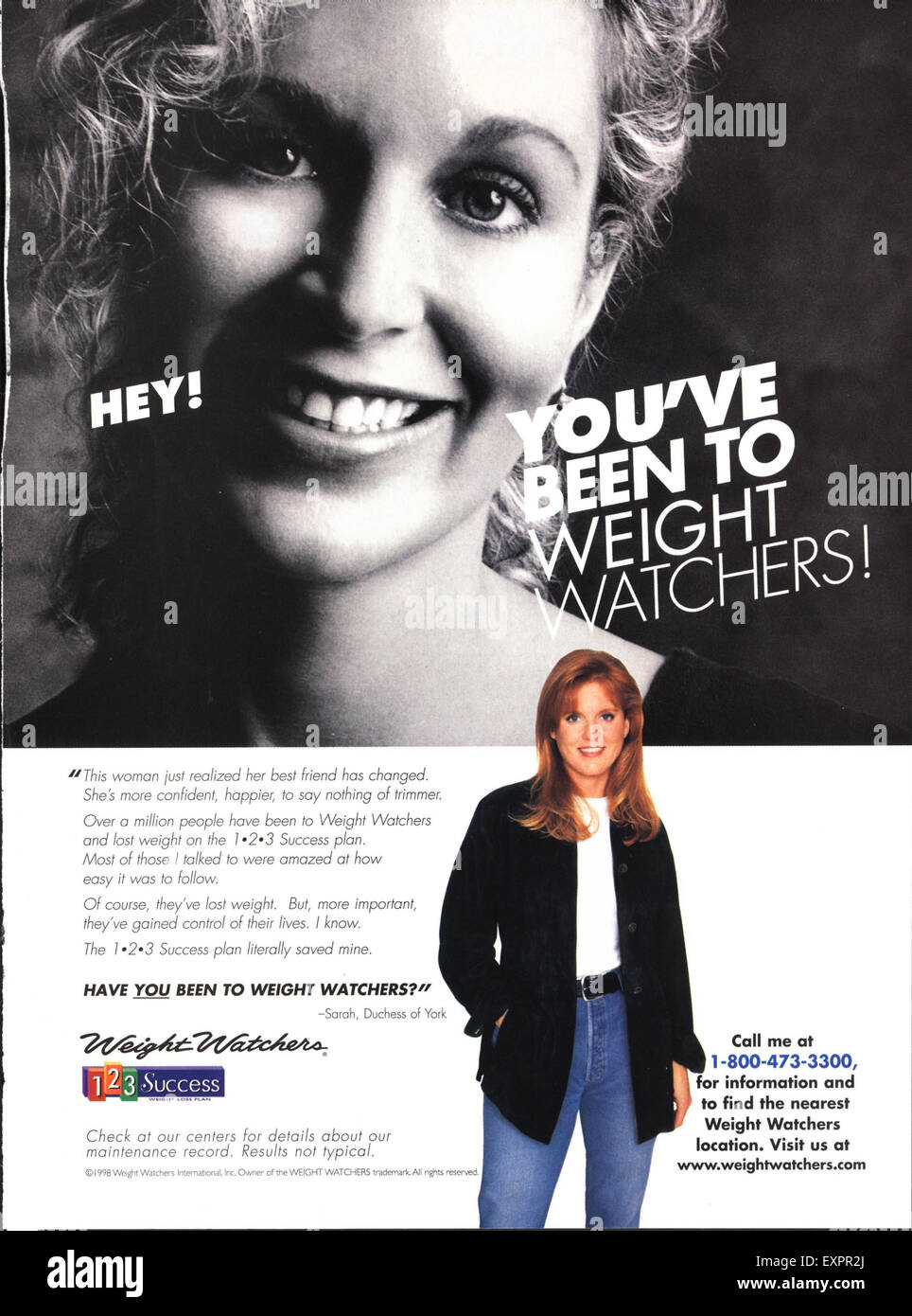 1990s USA Weight Watchers Magazine Advert - Stock Image