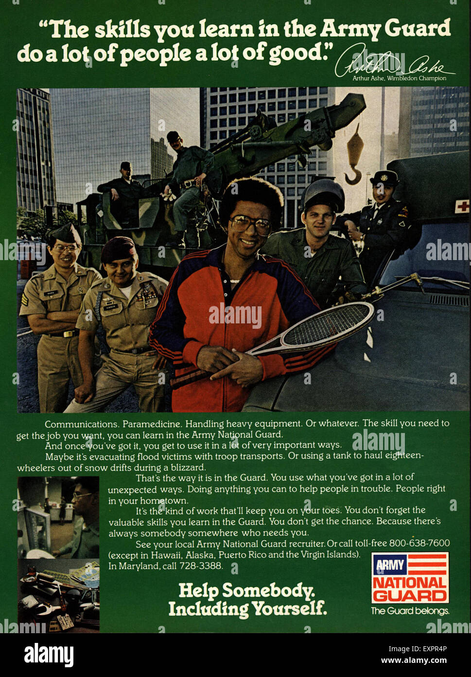 1980s USA Army National Guard Magazine Advert - Stock Image